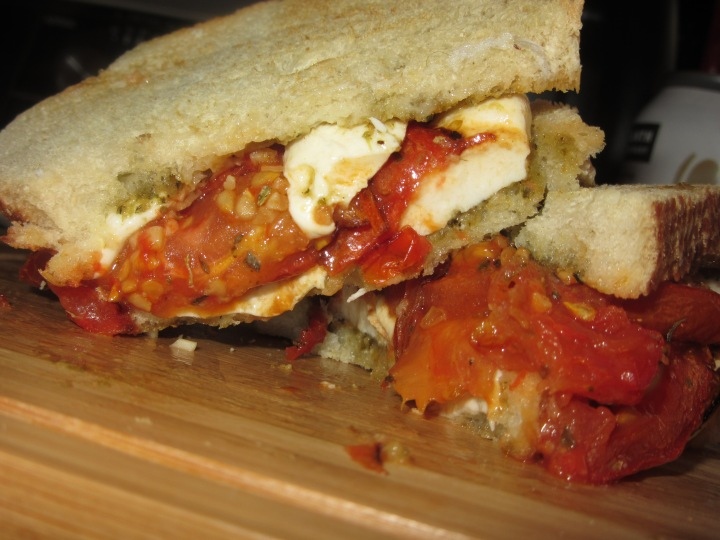 Roasted Tomato, Pesto & Mozzarella Sandwich